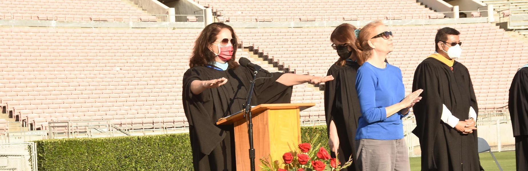 Principal Jeannie Gutierrez speaking at the 2021 MKHS Graduation Ceremony