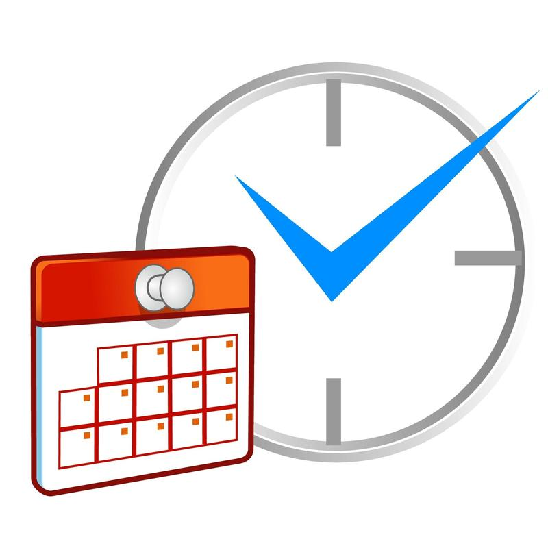 Calendar and clock with a check in it.