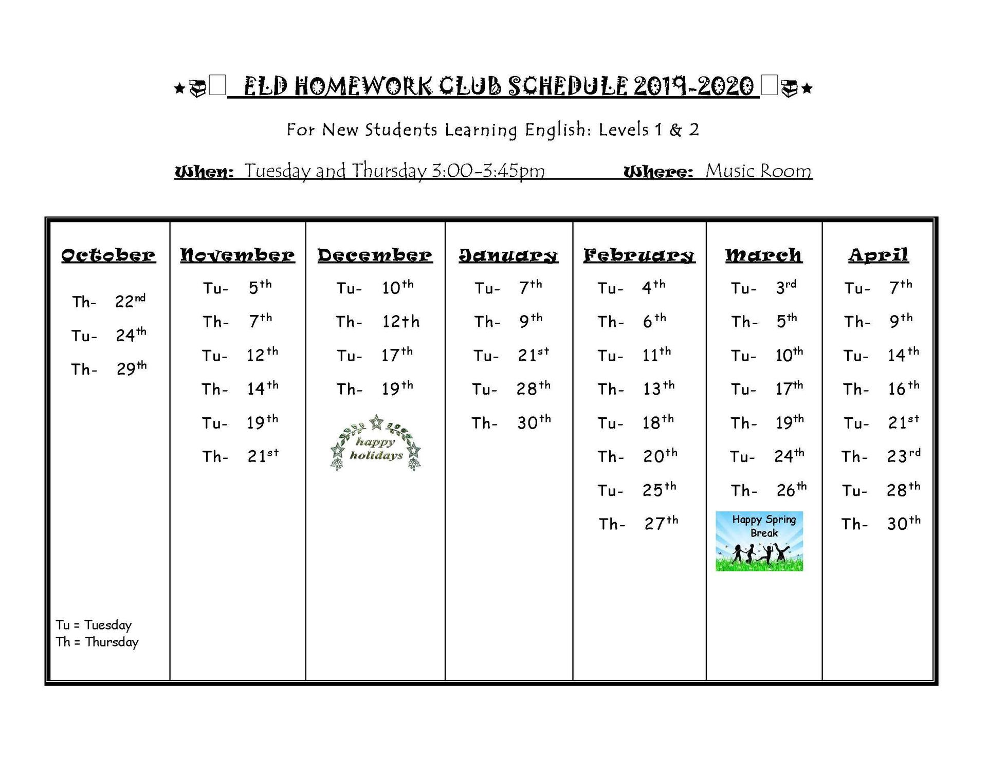 ELD Homework Club Schedule 2019-2020