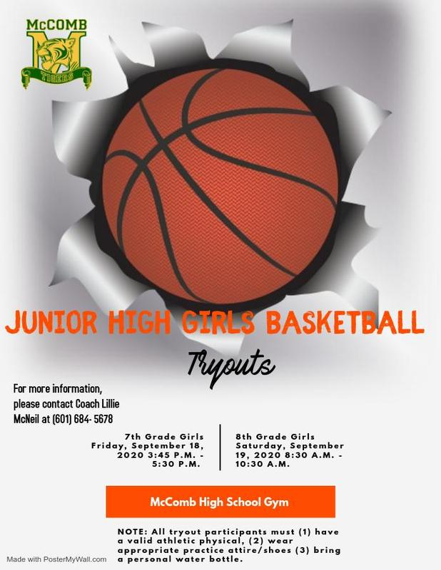 Denman Junior High School 7th and 8th Grade Girls Basketball Tryout News 2020-2021