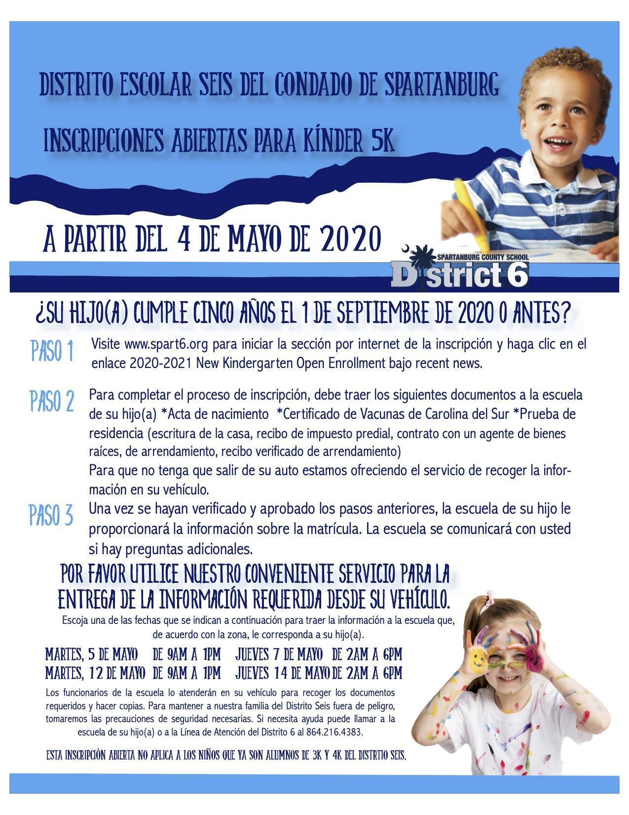 Kindergarten Open Enrollment Flyer in Spanish