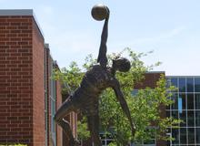 statue at AHS of Jumpin' Johnny Wilson