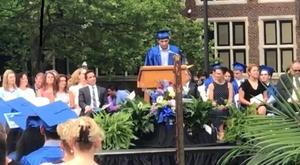 Sameer Joshi speaks to the graduating class.