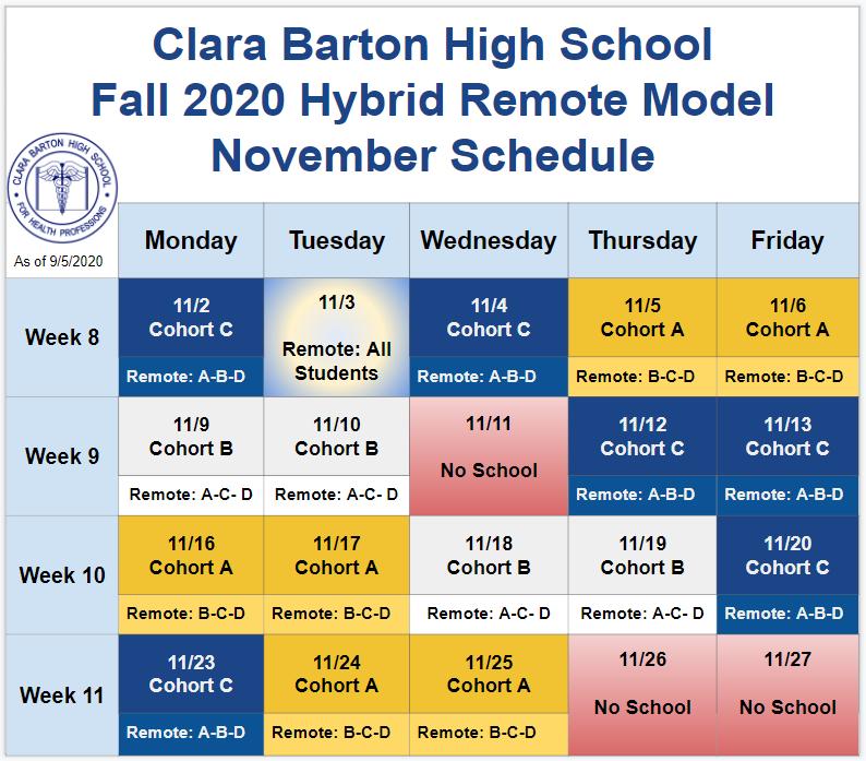 November 2020 Hybrid Schedule
