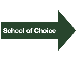 """Green Arrow with White Text that Reads """"School of Choice"""""""
