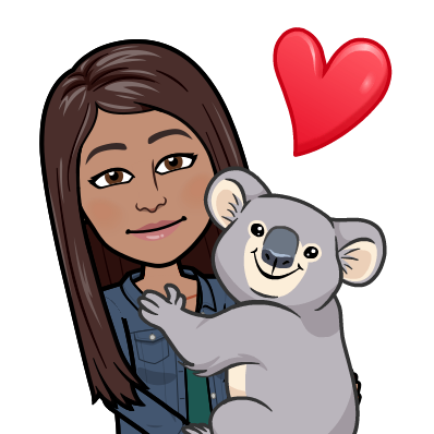 Mrs.Cuevas' bitmoji hugging a koala