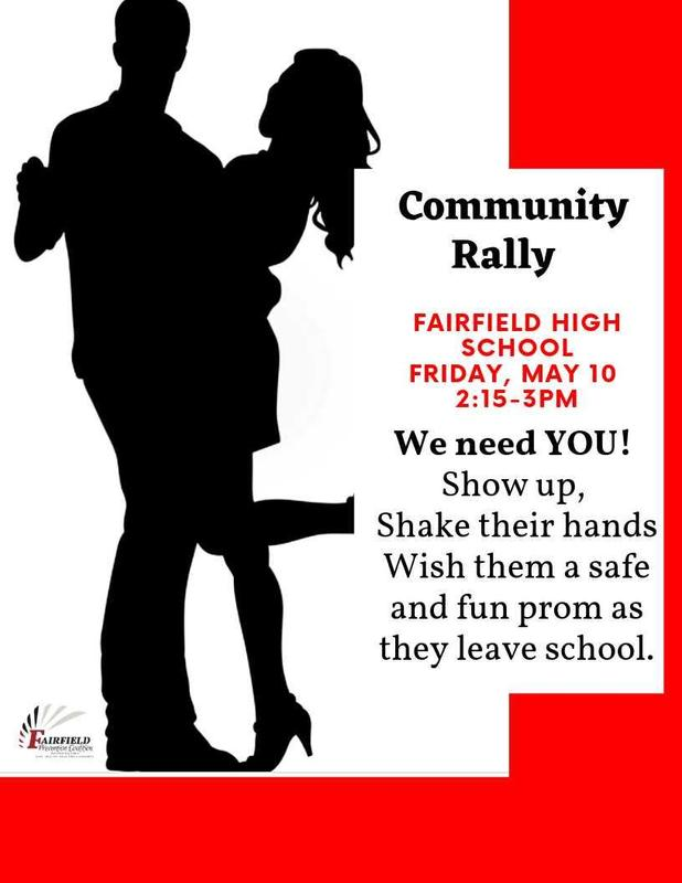 A flyer with 2 people dancing inviting the public to a Community Rally on May 10 from 2:15-3:00 p.m. to shake hands and wish our students heading to prom May 11 a safe and fun time.
