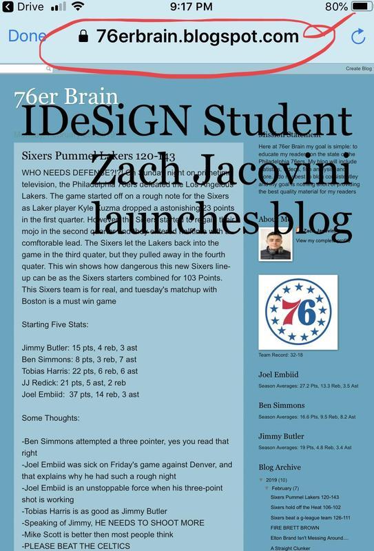 iDeSiGN Student, Zach Jacovini launches 76er's Blog Featured Photo
