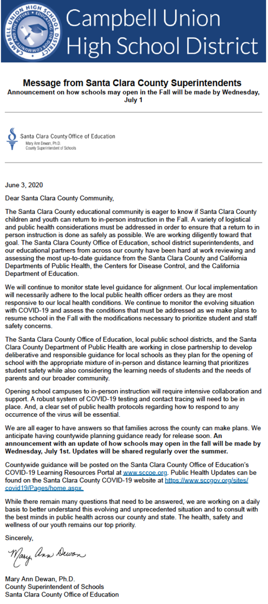 image of june 3, 2020 announcement from santa clara county superintendent of schools regarding in person instruction in fall 2020