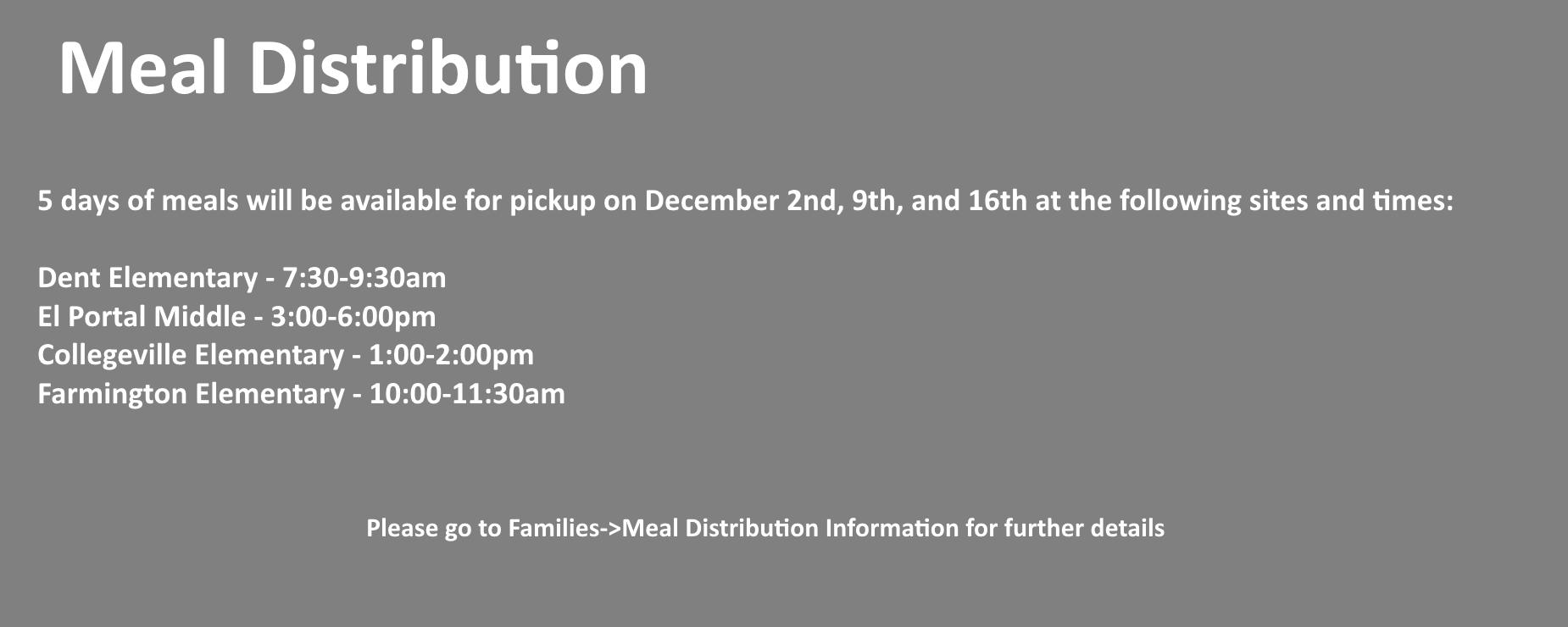 Meal Distribution Information