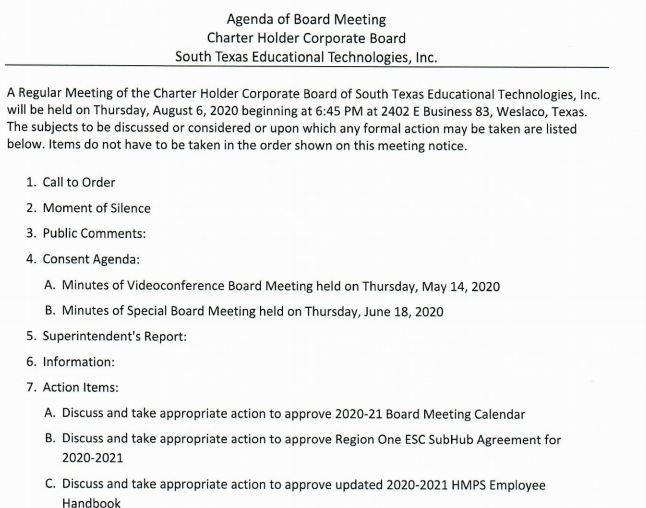 Board Meeting Agenda Featured Photo