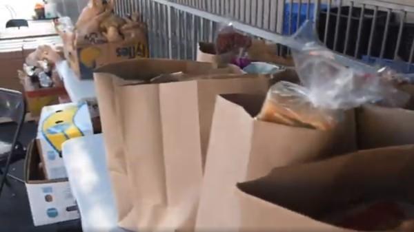Food drive bags of food
