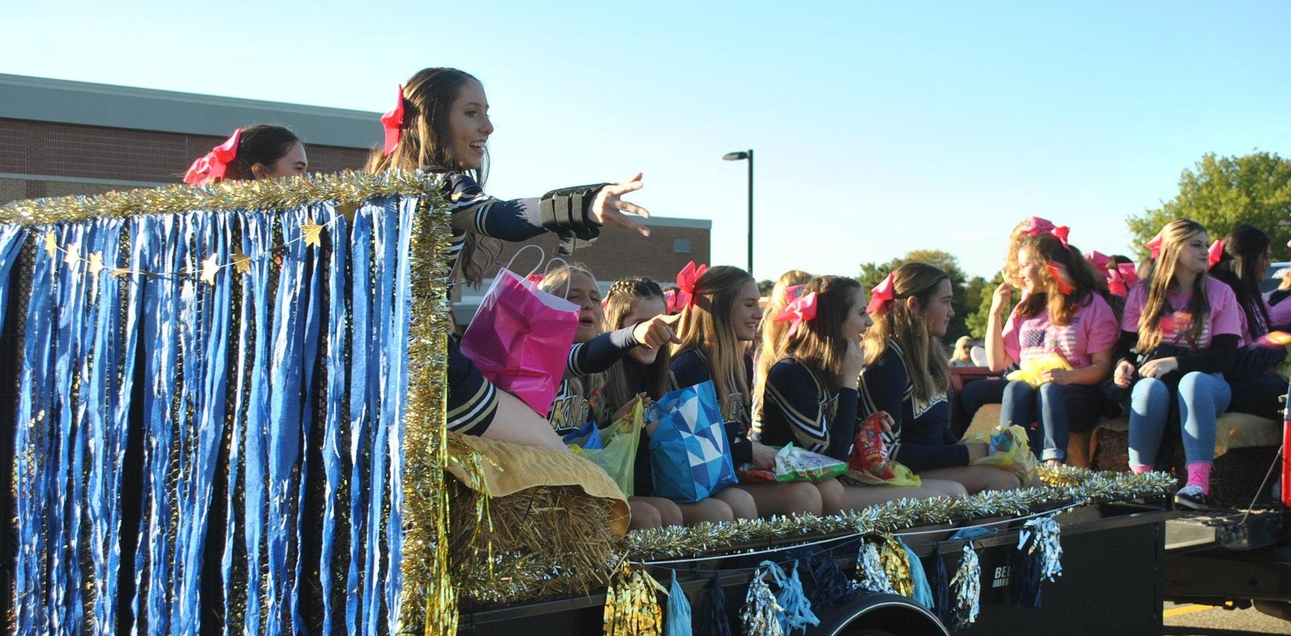 students on a float in the parade