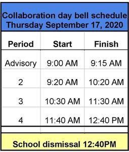 September 17 school dismissal is at 12:40.