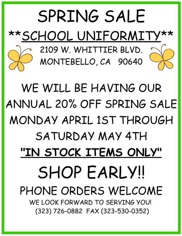 Spring Uniform Sale Thumbnail Image