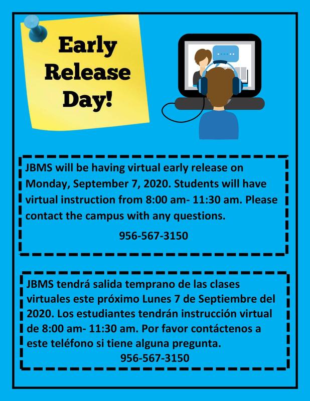 JBMS Early Release Day: Monday, September 7, 2020 Featured Photo