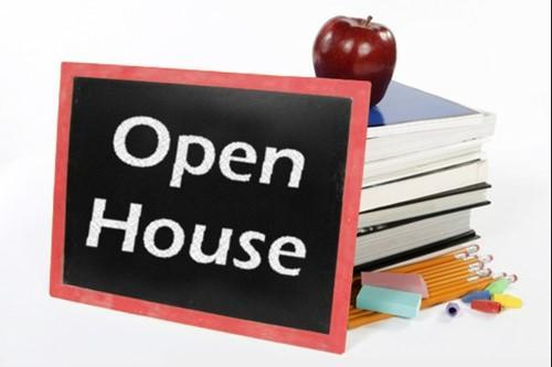 Open House sign with books