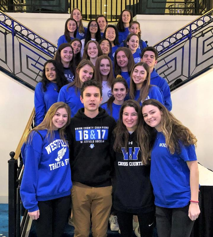 "Members of the Westfield High School Dream Team attend 31st Annual NJ Elks Peer Leadership Conference in Long Branch on Feb 1-3. The WHS Dream Team is a school club that encourages positive decision-making and healthy choices; their message to students is, ""Confidence, Choices, Challenges, Changes""."