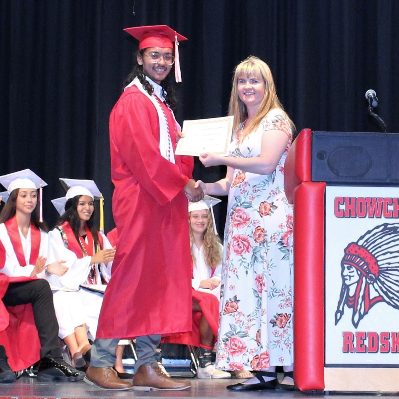 Isaac Dickens-Salazar, CUHS Assistant Principal Danielle Ross