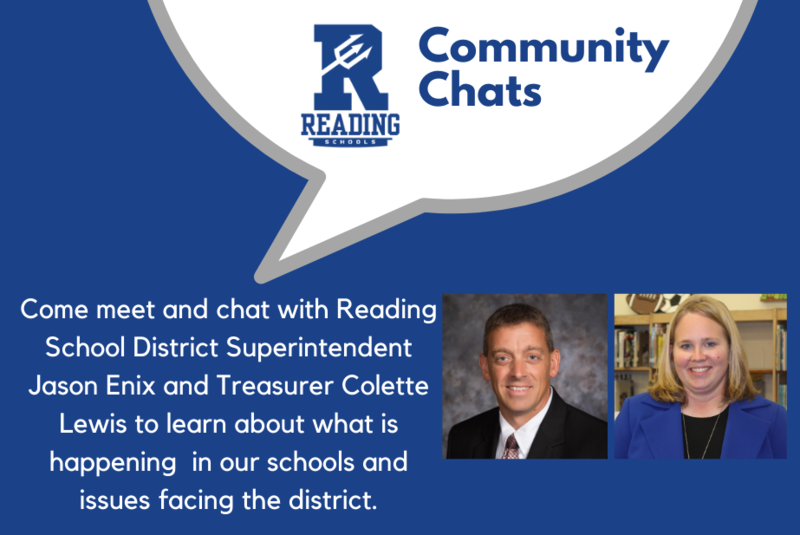 Come meet Reading Superintendent Jason Enix and Treasurer Colette Lewis and chat about what is happening in the community