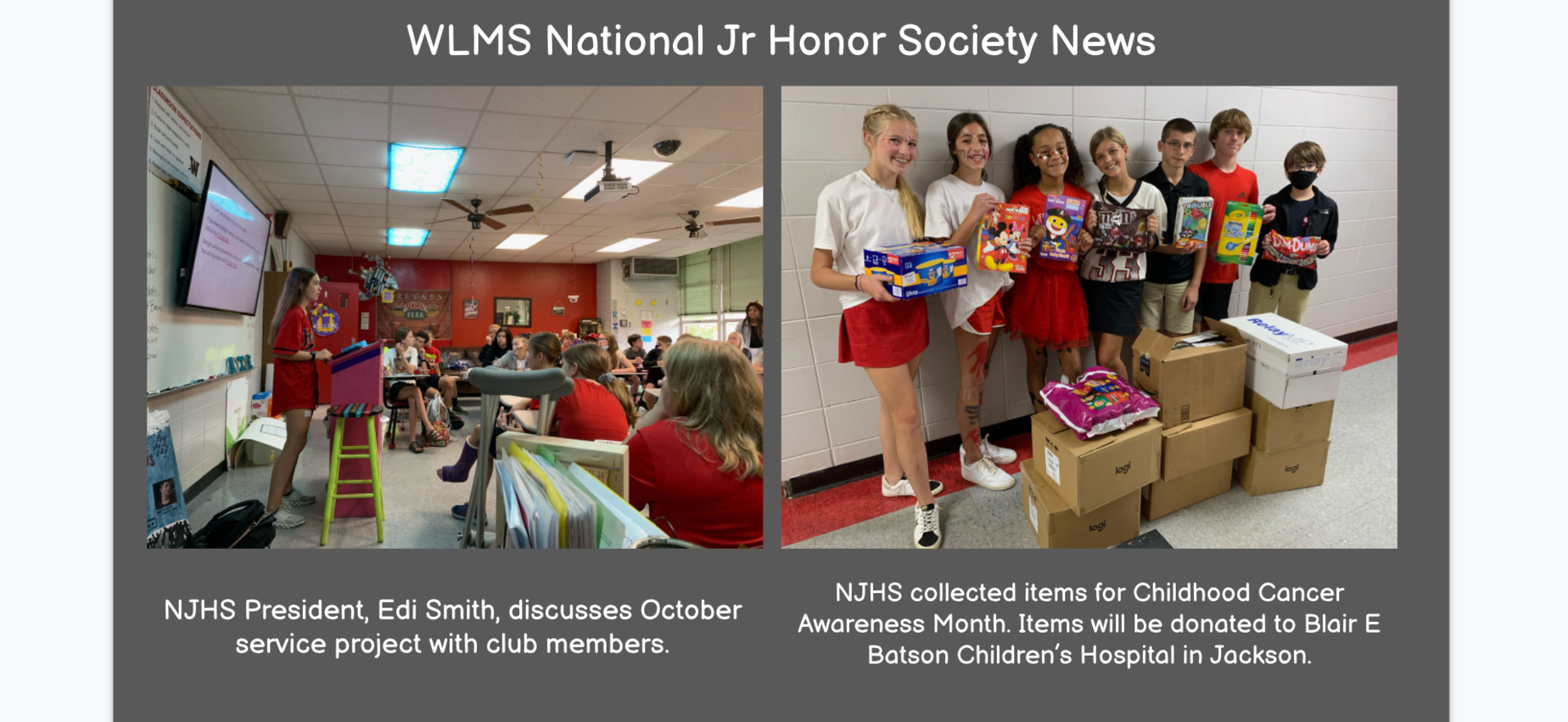 WLMS National Junior Honor Society meeting and donation pictures
