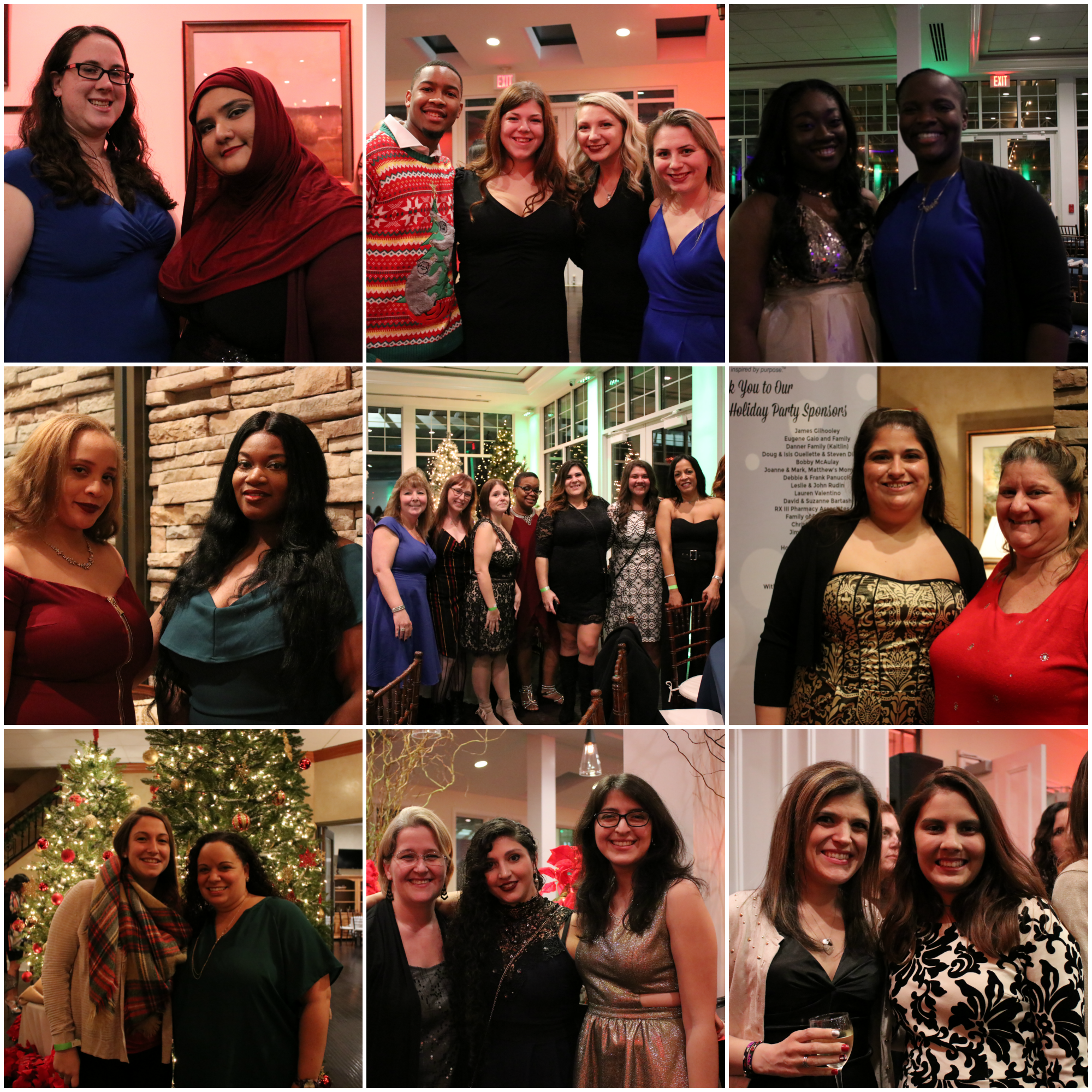 Collage of staff at the 2018 holiday party