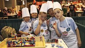 kids cooking with cooking hats