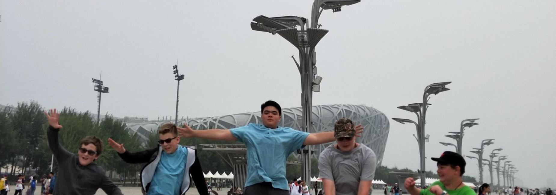 Boys jumping in China