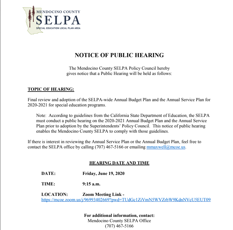 SELPA Public Hearing Announcement: Friday, June 19th @ 9:15AM Thumbnail Image