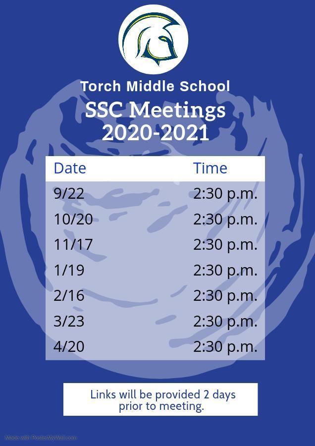 SSC Title 1 Calendar 2020-21