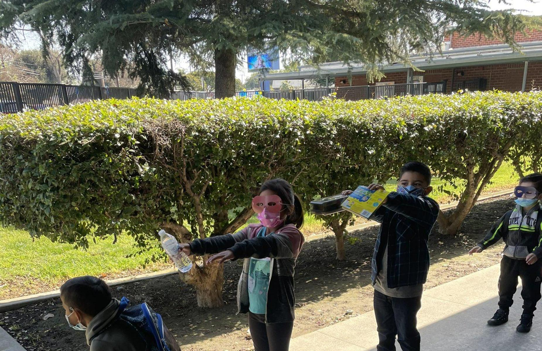 Safety first! Philadelphia Kindergartners practice using their superhero arms to be socially distant while walking to and from class! Way to go scholars!! #proud2bePUSD