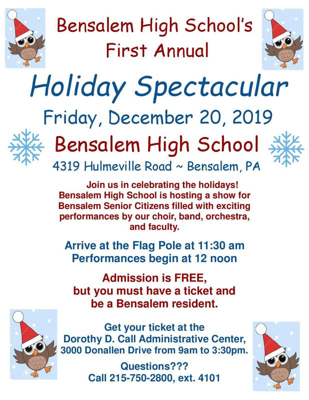 Flyer with snowflakes and owls wearing Santa hats advertising Holiday Spectacular at Bensalem High School for Bensalem Senior Citizens.