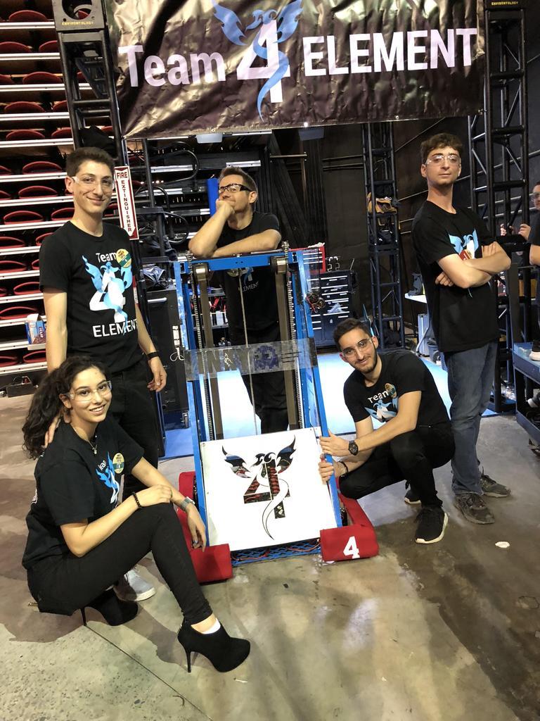 2018 drive team: Maddie (operator), Tommy (driver), Mr. B (coach), Ali (human player), Brandon (technician)