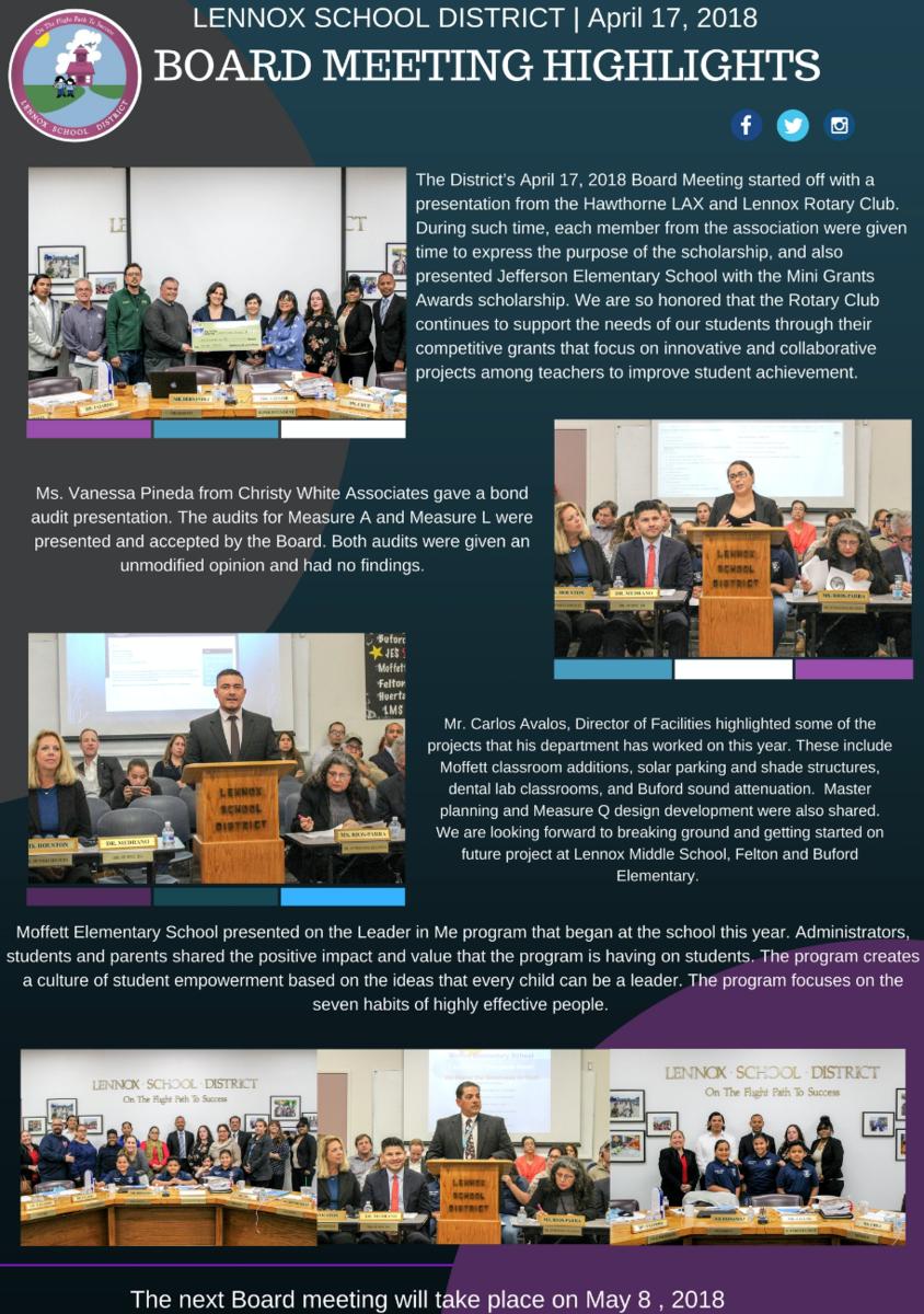 board meeting highlights