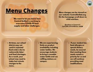 Menu Changes English