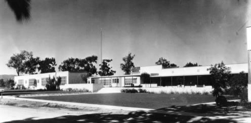 Exterior view of the then John Adams Jr. High School. Picture has no date, but estimate between 1939-1981
