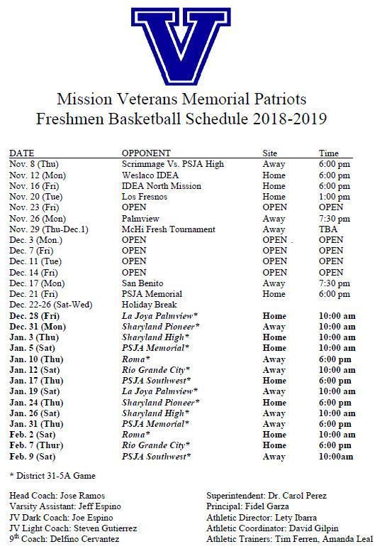 VMHS Freshman Schedule