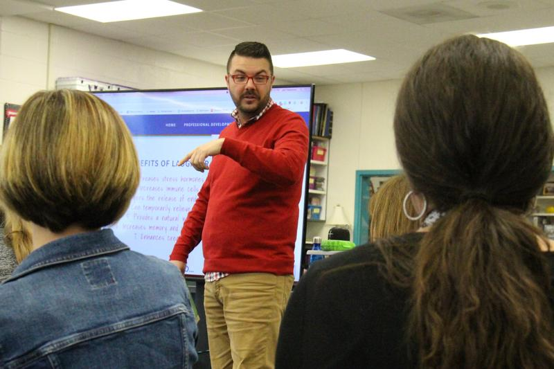 B-L Elementary School teachers Jessica McCleskey and Brandee Quarles listen to guest speaker Jed Dearybury on Tuesday, February 12th.
