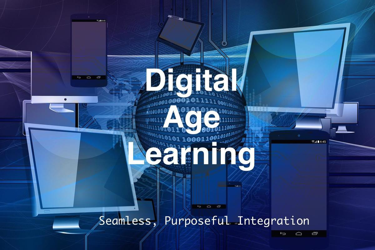Digital Age Learning logo featuring computer images and tagline Seamless, Purposeful Integration