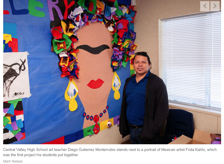The Bakersfield Californian features first-year Central Valley art teacher Diego Monterrubio.