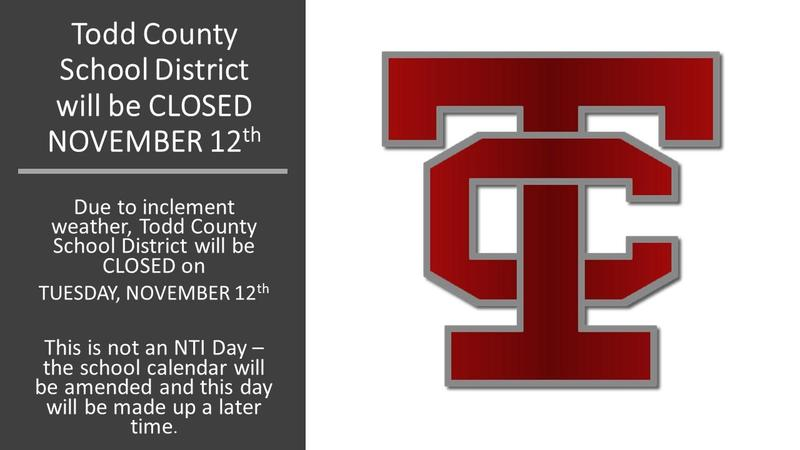 Todd County Schools CLOSED NOVEMBER 12 Featured Photo
