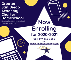now enrolling, blue background with white star