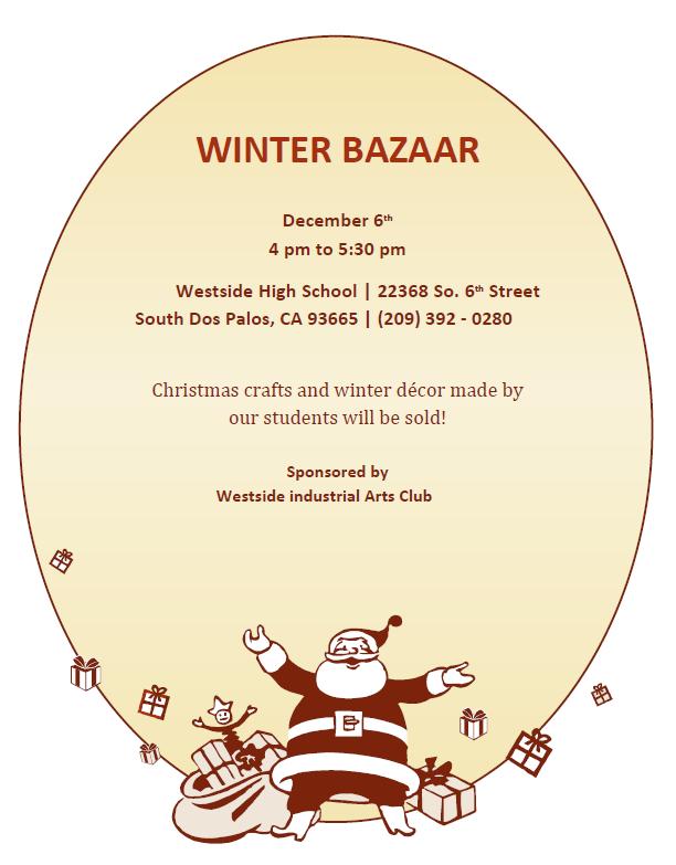 Winter Bazaar Thursday, 12/6/2018 from 4-5:30 p.m. Featured Photo