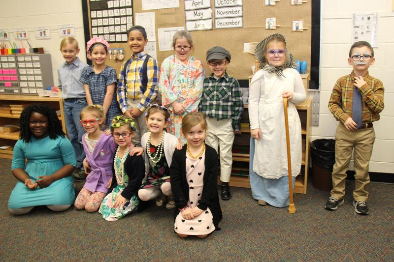 1st and 2nd grade students in Mrs. Sturkie's class at B-L Primary School show off their 100th day of school costumes.