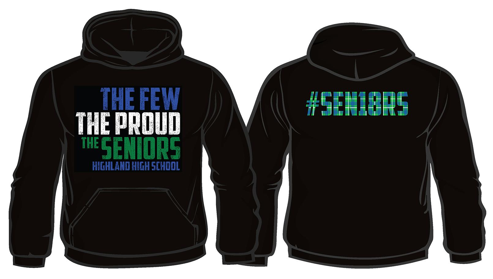 The front and back of the Seniors Sweatshirt.