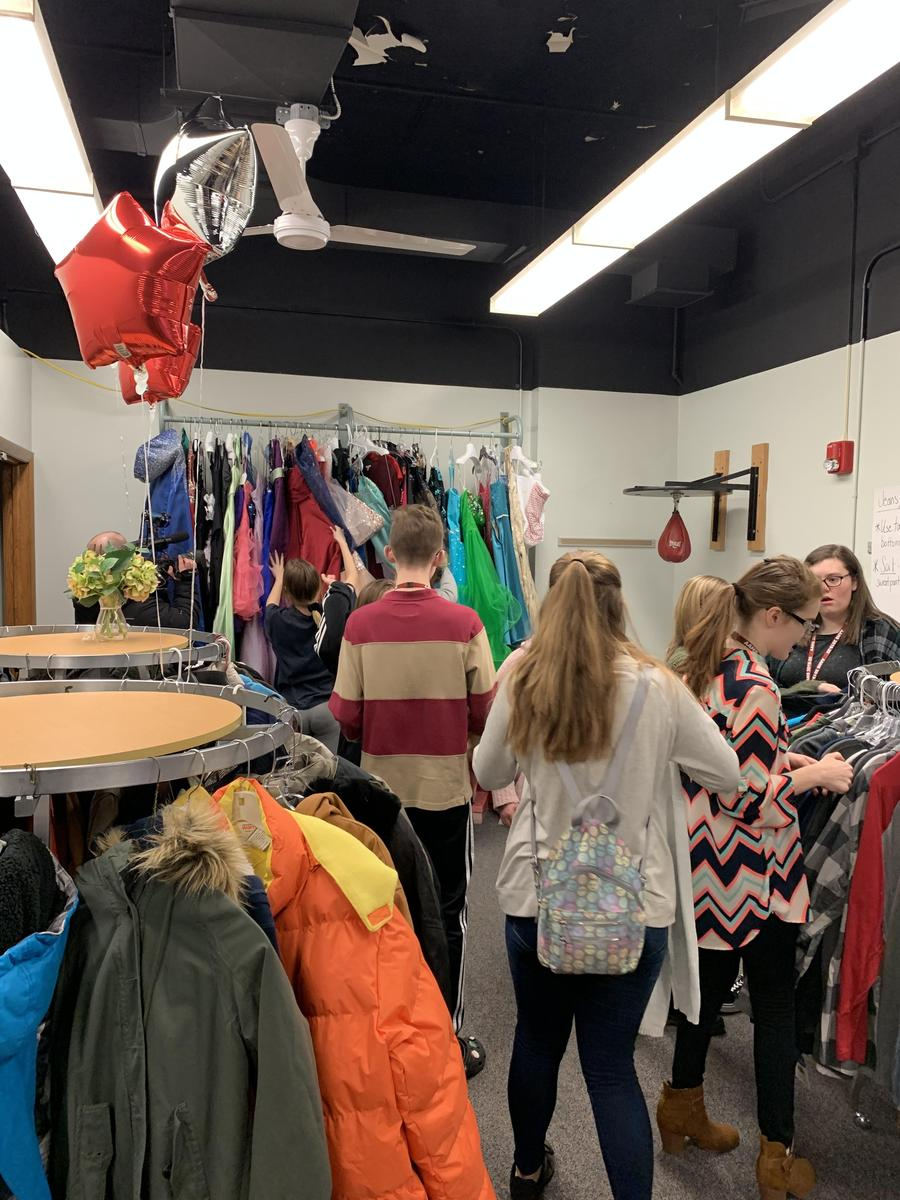 Students Shopping in Rachel's Closet
