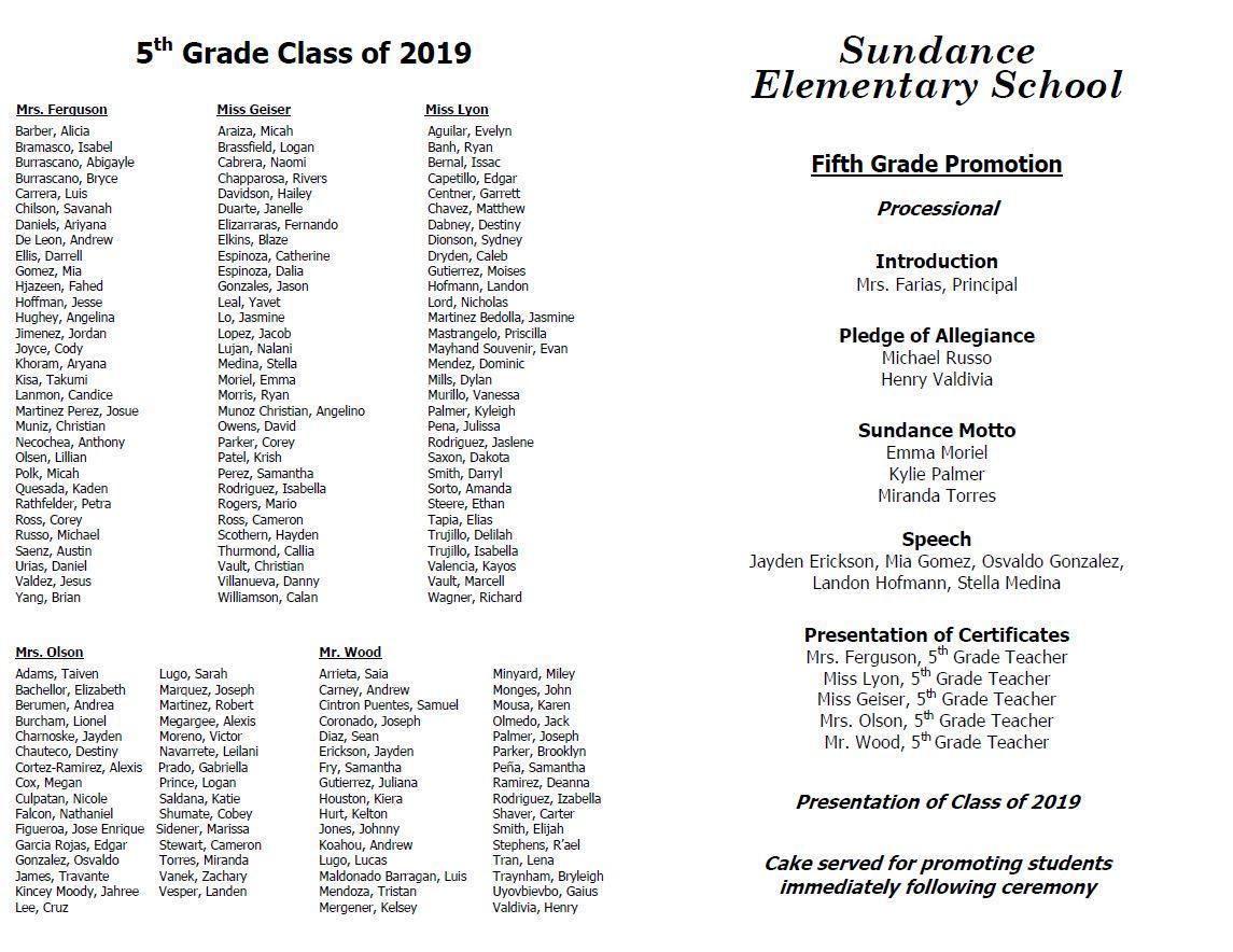 5th grade promotion program inside
