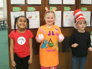 Students dressed as Dr. Seuss characters.