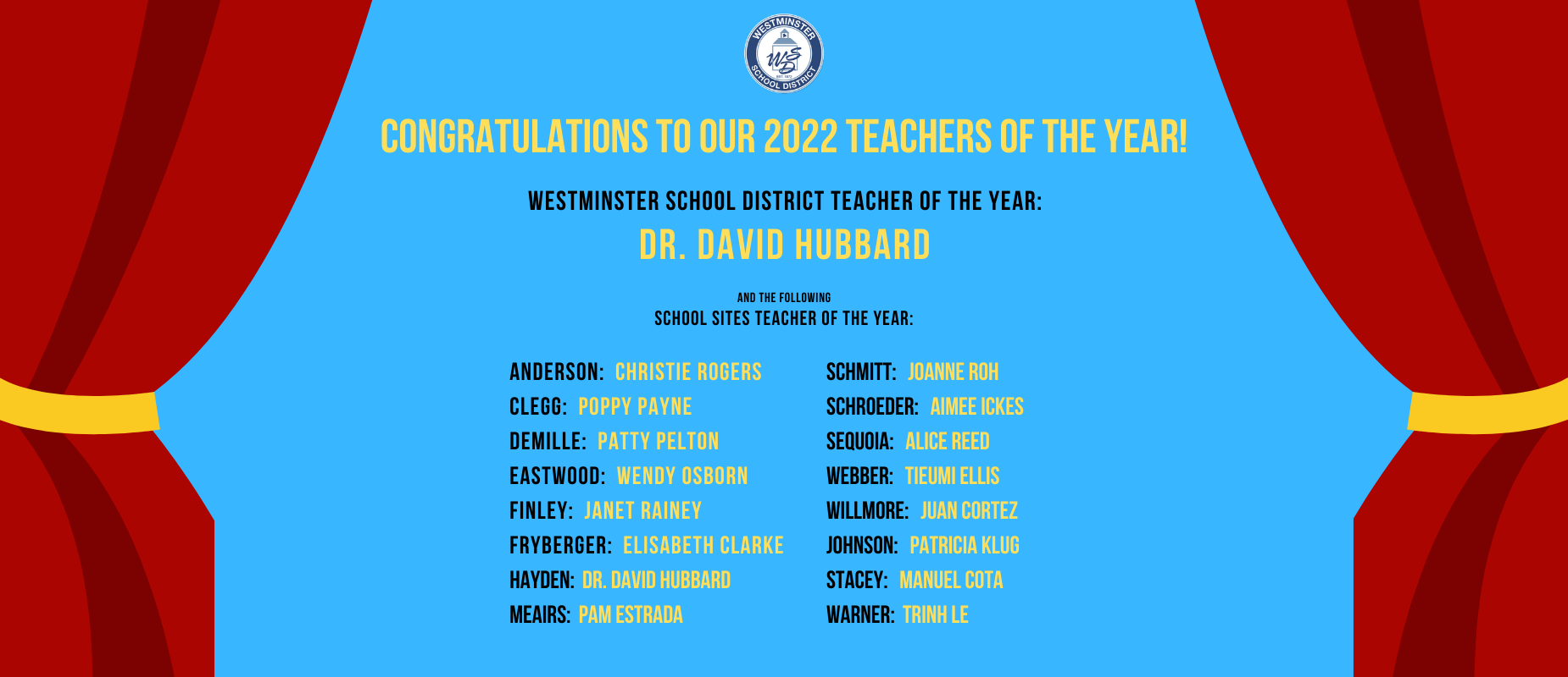 Congratulations to our 2022 Teachers of the Year