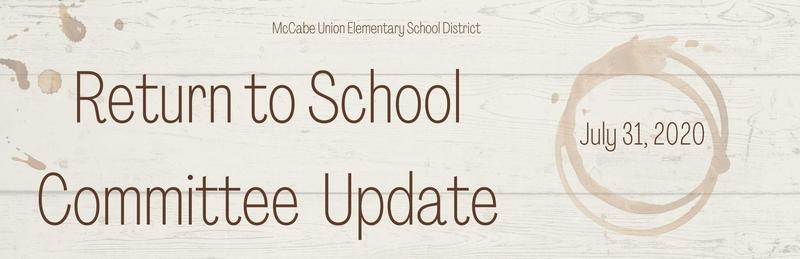 Return to School Committee Update - July 31, 2020 Thumbnail Image